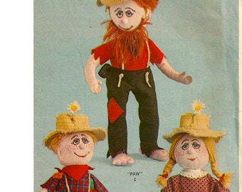 McCalls 7560 1960s HILLBILLY Stuffed Rag DOLL and Doll Clothes Pattern Virginia Black 12 and 17 Inches Vintage Toy Sewing Pattern UNCUT