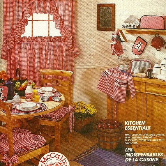 McCalls 7562 Kitchen Essentials Pattern - Make Curtains Apron Potholder Kitchen Witch and More Uncut