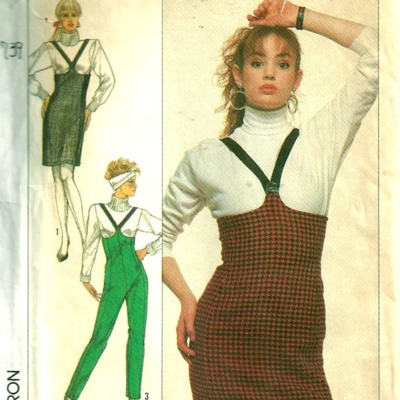 Simplicity 8739 1980s Empire Waist Suspender Slim Skirt and Pants Pattern Womens Vintage Sewing Pattern Size 12 14 16 Bust 34 36 38 UNCUT