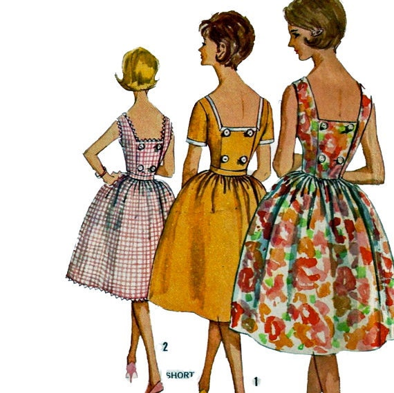 Simplicity 3964 Vintage 60s Full Skirted Sun Dress Pattern Proportioned Size 14 Bust 34