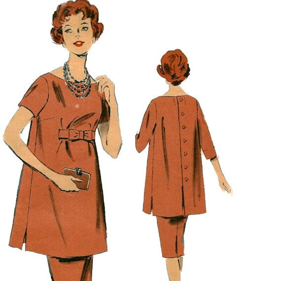 1960s Advance 9365 Elegant  Maternity Slim Skirt and Tunic Pattern VWomens Vintage Sewing Pattern Size 14 Bust 34 Uncut