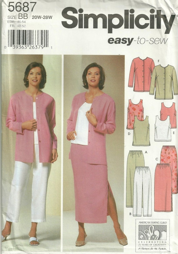 Simplicity 5687 Easy to Sew Womens Pants Skirt  Tunic Top and Jacket Pattern Sewing Pattern Size 20 - 28  Bust 42 - 50 Uncut