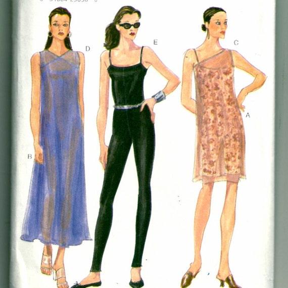 Easy Options Vogue 9667 90s Dress and Bodysuit Pattern Size 12 - 16 Bust 34 - 38 Uncut