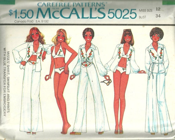 McCalls 5025 1970s Misses Shirt Pants and  Bikini Pattern Embroidery Transfer  Womens Vintage Sewing Pattern Size 12 Bust 34 Uncut