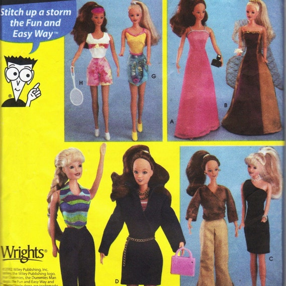 Simplicity 5755 Sewing for Dummies for 11 1\/2 Inch Fashion Doll Wardrobe Pattern 2002