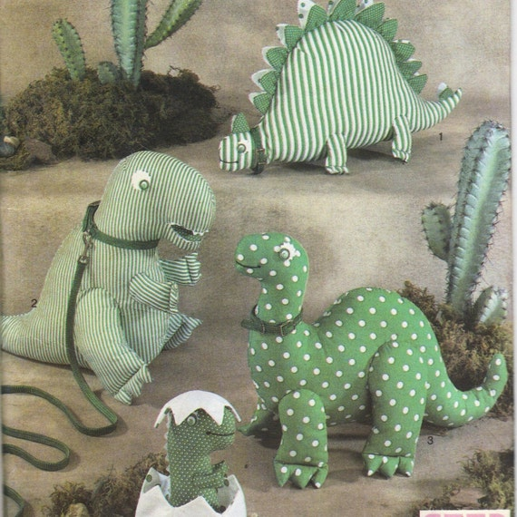 1980s Simplicity 8378 Designer Dinosaurs Pattern Stuffed Toy Sewing Pattern 7 1/2  12 13 1/2 Inches  Vintage Craft Sewing Pattern UNCUT