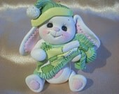 rabbit cake topper personalized Christmas ornament polymer clay gift bunny birthday