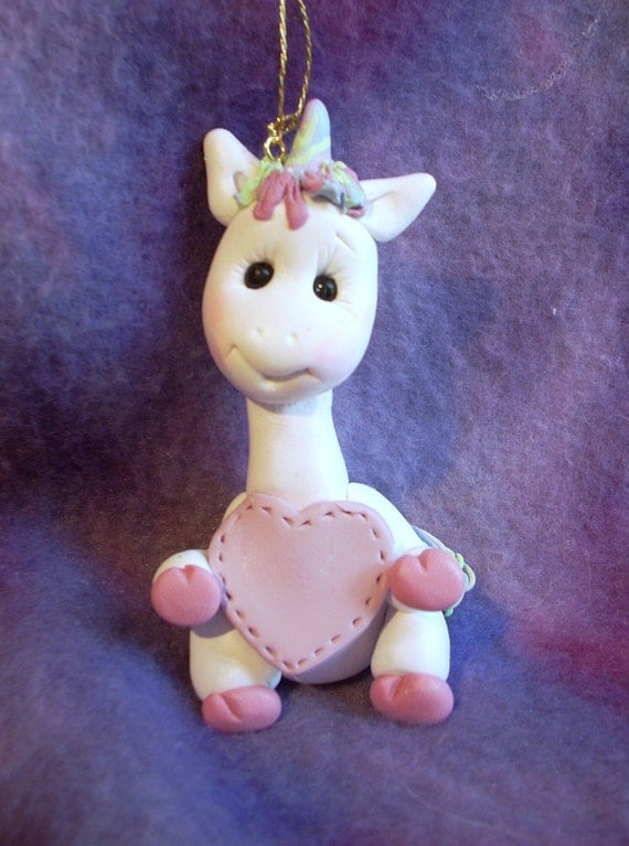 polymer clay unicorn personalized Christmas ornament cake topper