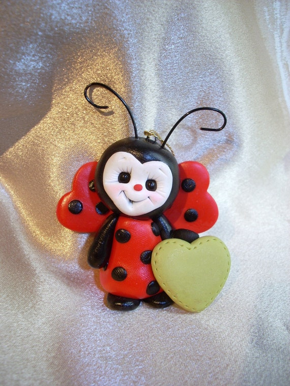 ladybug personalized Christmas ornament handcrafted sculpture figurine gift insect polymer clay