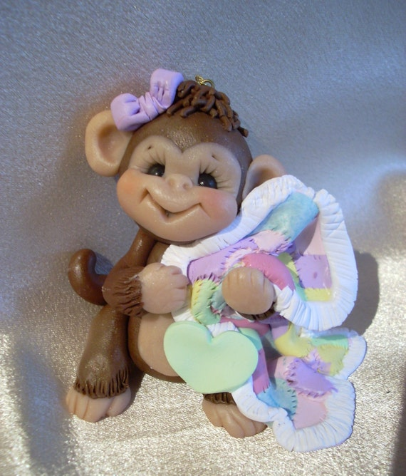 polymer clay monkey Christmas ornament  childrens cake topper baby shower gift