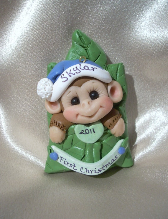 MONKEY Baby's first Christmas Ornament  Personalized Baby Gift  Polymer Clay Baby Shower Gift