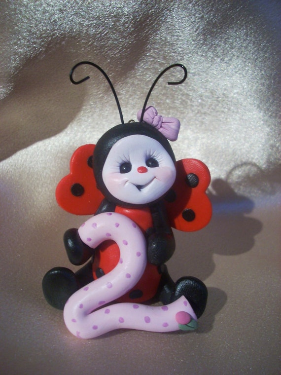 ladybug birthday cake topper Christmas ornament  children second 2nd birthday decoration personalized clay gift
