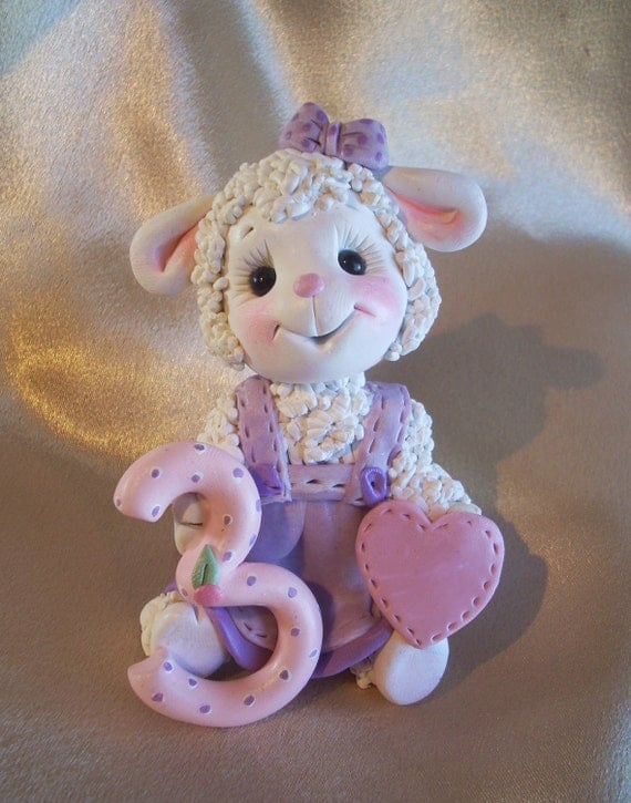 Sheep lamb birthday cake topper Christmas ornament children third 3rd birthday decoration personalized clay gift