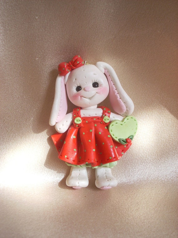 rabbit bunny Christmas ornament polymer clay gift animal personalized