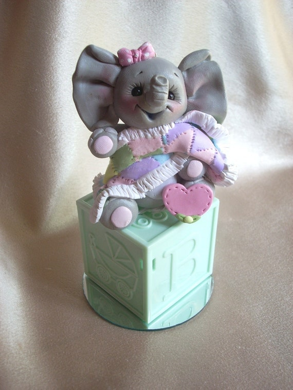 elephant baby shower cake topper polymer clay decoration gift animal