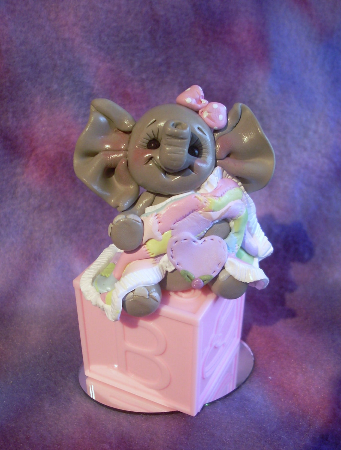 baby shower cake topper elephant polymer clay decoration gift