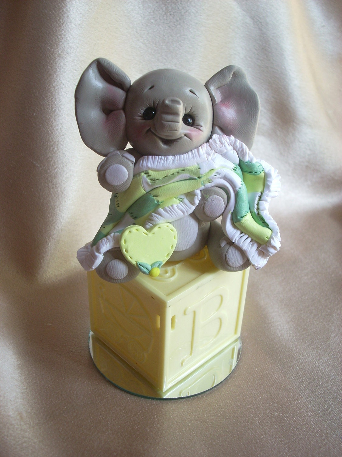 elephant baby shower cake topper polymer clay decoration gift