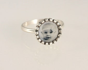 Silver Photo Ring. Personalized