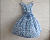blue and white tea dress - reserved for Tyba