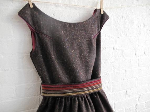 custom tea dress in tweed