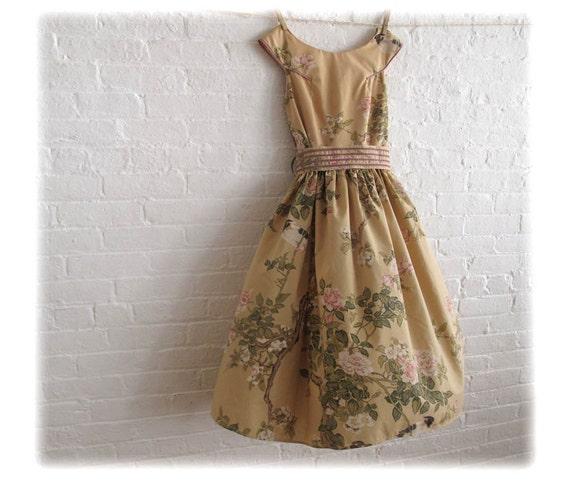 bird and blossom ... tea dress - reserved