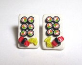 Polymer Clay Crab Sushi Plater Stud Earrings-Surgical  Steel