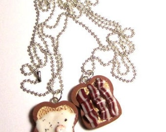Egg And Bacon Bestfriend Necklaces