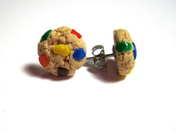 Rainbow Chocolate Chip Cookie Stud Earrings- Surgical Steel