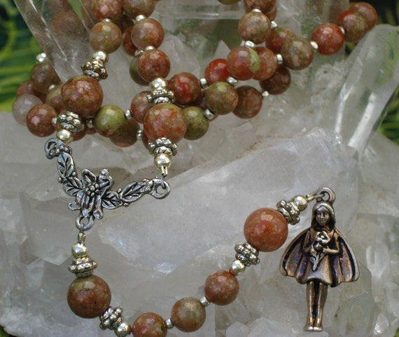 Pagan Spirit Fairy Rosary Necklace with Autumn Jasper