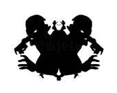 Zombie Ink Blot 2 dark art Print psychology silhouette horror living dead black and white