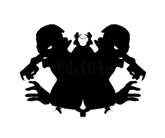 Zombie Ink Blot 2 dark art Print psychology silhouette horror living dead black and white