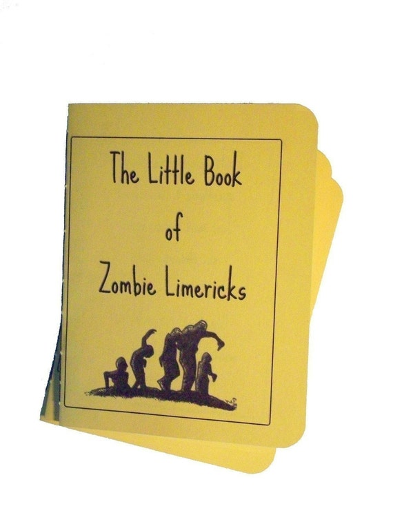 Zombie limerick book original poems living dead writing zine hand bound unique greeting card funny reading