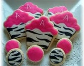 Zebra print 3 inch Cupcake cookie and dots (2 dzn)