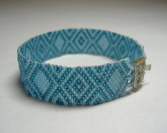"Art Deco Inspired Sea Blue Beadwoven Bracelet - ""Blue Diamonds"""
