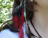 Red, Black and Turquoise Beaded Clip-In Feather Hair Extension