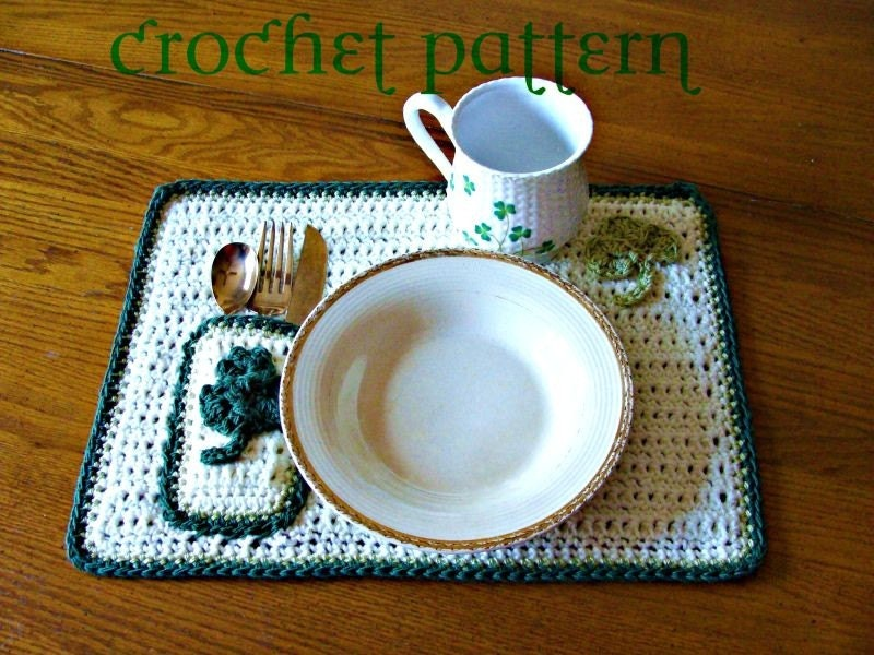 st patrick 39 s day placemat crochet pattern by cindyspricelessgifts