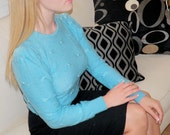 50's Beautiful Pin-Up Girl Light Blue LongSleeve Sweater With Stitched Bows And Pearls- reserved for VintagebyRocky
