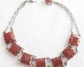 Vintage Square Cut Faceted Carnelian Art Deco Bracelet