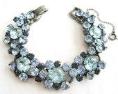 Vintage Shades of Blue Glamorous Rhinestone Juliana Gunmetal Bracelet