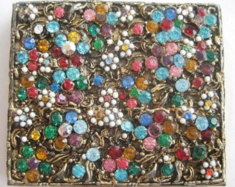 Vintage Multicolor Rhinestone Encrusted Jeweled Compact