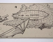 Aeryn Daring Airship Jules Verne Letterpress Postcard Print