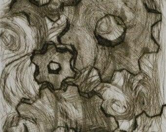 Gears and Steam Handprinted Intaglio Print - Etching Drypoint Spitbite - Steampunk Art