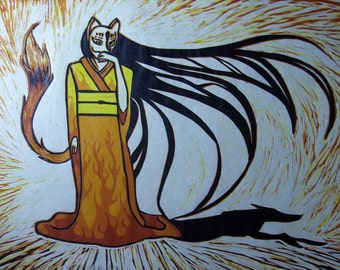 Kitsune Kage/Fox Shadow - hand-pulled 6-color hand-cut linocut edition of 12