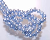 Seed Pearl Round Potato Pearl Freshwater Pearl lake blue 3-4mm----15.5 inch full strand---HOT DEAL