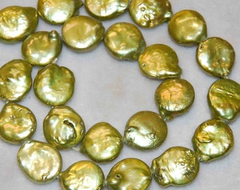 13-14mm Olive Green Genuine Coin Pearl-----1/2 strand-------promotion sale Reduced