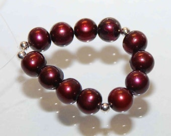 7-7.5mm AAA Round Potato --Burgundy Red Genuine Freshwater Pearl-----12 pcs