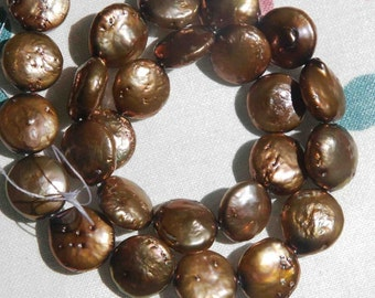 """Freshwater Pearl 12-13mm Chocolate Brown Genuine Coin Pearl full strand 15""""-------promotion sale Reduced"""
