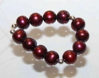 7-7.5mm AA Round Potato --Burgundy Red Genuine Freshwater Pearl-----12 pcs