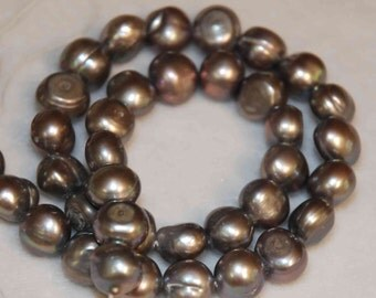 Baroque Pearl grey genuine pearl full strand 10-11mm ---16 inches ----Clearance SALE