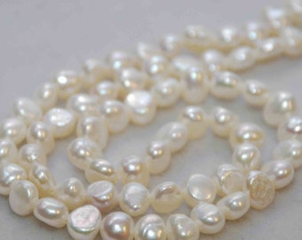"Corn Pearl Freshwater Pearl ivory white pearl 8-9mm----15.5"" full strand  45pieces pearl Wholesale"